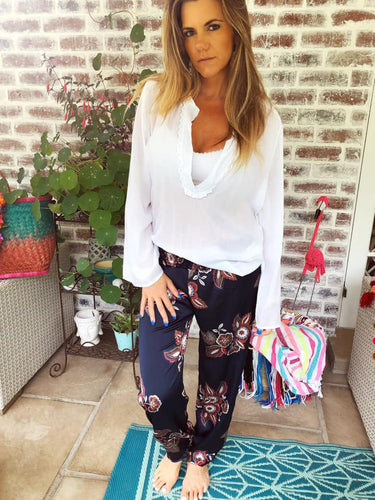Floral print satin slouch pants