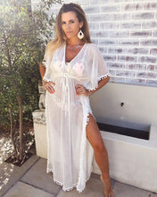 White mesh full length Kaftan