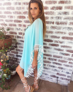 Turquoise chiffon off shoulder Dress