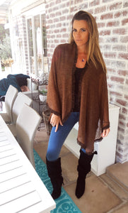 Chocolate Brown Knit Poncho with Suade tassel