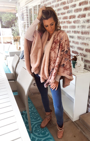 Dusty Pink Reversible fur poncho