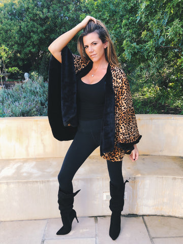 Reversible black fur &  leopard poncho