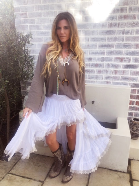 White Gypsy skirt with beige lace trim