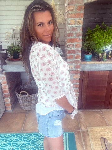 White floral tie top