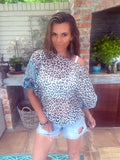 Chiffon Leopard Print with touch of Turquoise