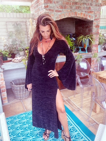 Full length Boho Black Lurex Dress
