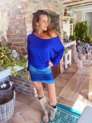 Blue Ruffle Mini skirt