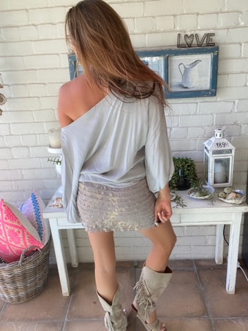 Taupe Mini skirt with gold ruffle