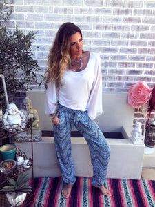 Blue geometric pattern Boho pants