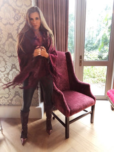 Burgundy Knit Poncho with Faux Fur
