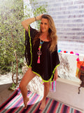 Black kaftan short with Neon yellow trim