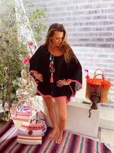Black Chiffon kaftan with neon pink trim