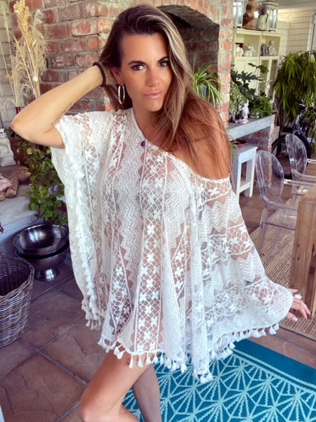 White lacy Kaftan with tassel trim