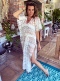 White lacy Full length Kaftan