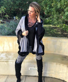 Grey Knit Poncho with fur trim