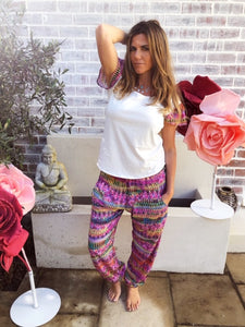 Pink Patterned Boho Pants