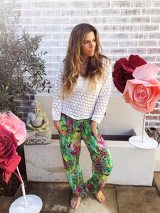 Neon Green Patterned Gypsy pants