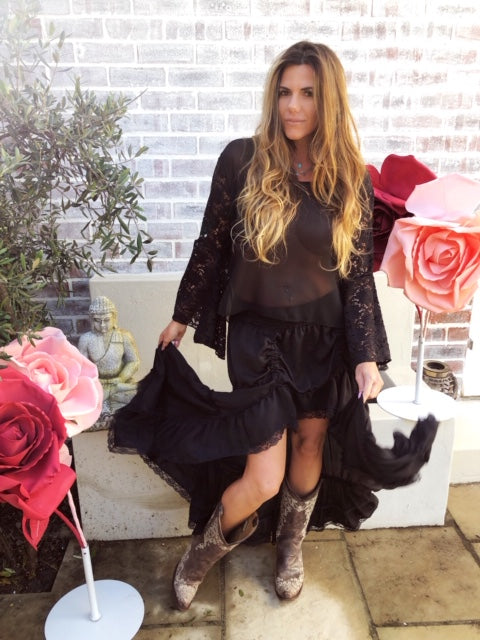 Black Satin  Gypsy skirt with black lace
