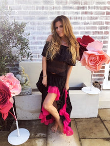 Black lace Gypsy skirt with hot pink lace trim