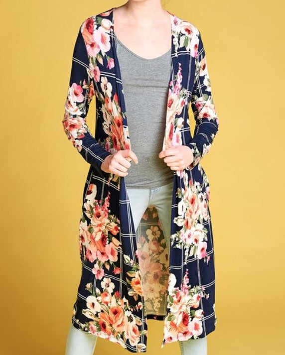 Florals and Stripes Navy Duster