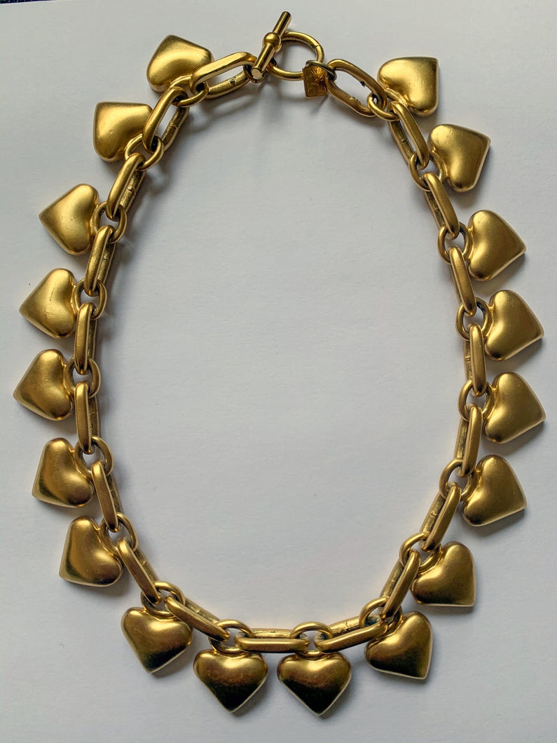 Vintage 1990's Anne Klein Matte Gold Puffy Hearts Necklace