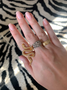 Kenneth Jay Lane Gold and Crystal Pave Snake Ring