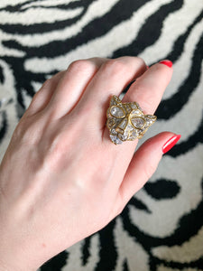 Vintage Kenneth Jay Lane Crystal Panther Cocktail Ring