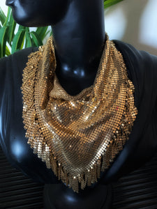 Vintage Whiting & Davis Rare Gold Mesh Fringe Bib Necklace