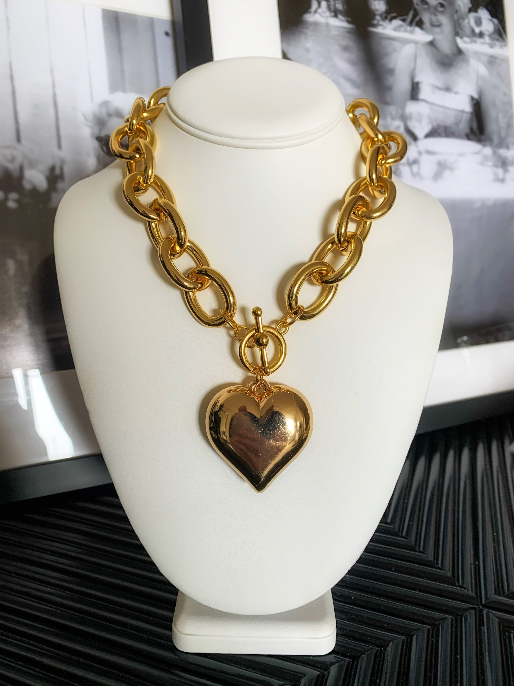 Kenneth Jay Lane Gold Chunky Heart Necklace