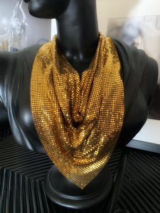 Vintage 1980's Gold Mesh Bib Necklace