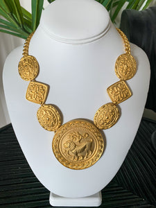 Vintage Brushed Gold Tone Lion Medallion Necklace