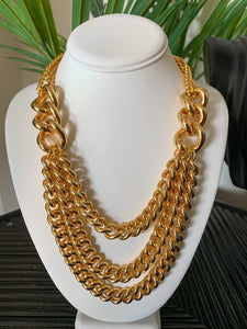 Kenneth Jay Lane Gold Nested Chain Necklace