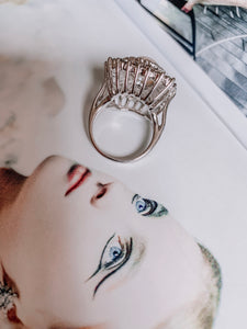 Vintage Pearl and Crystal Baguette Ring {Size 7}