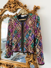 Vintage 1980's Jewel Tone Sequin Jacket Size Small