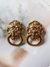 Vintage 1980's Kenneth Jay Lane Gold Lion's Head Earrings