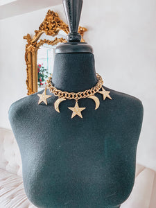 Vintage Kenneth Jay Lane Moon and Stars Choker