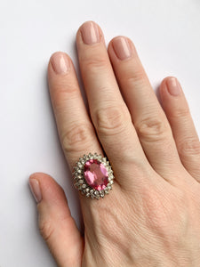 Vintage Pink Tourmaline and Crystal Cocktail Ring