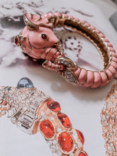 Vintage Kenneth Jay Lane Pink Jeweled Elephant Bracelet