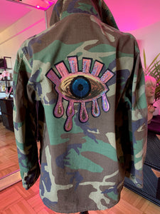 """Got Your Back"" Baby Pink Iridescent Sequin Evil Eye Camo Jacket"