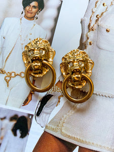 Vintage 1990's Kenneth Jay Lane Lion Head Earrings