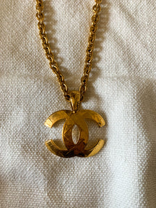 Vintage 1994 Gold Chanel CC Quilted Long Necklace