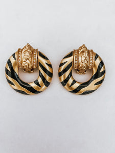 Vintage 1994 Elizabeth Taylor Zebra Door Knocker Earrings
