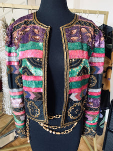 Vintage 1980's Pink + Purple Sequin Jacket Size Medium