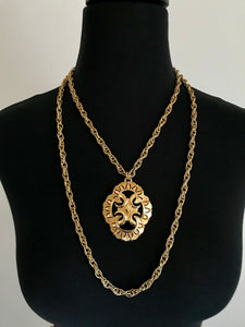 Vintage Trifari Gold Pendant Statement Necklace