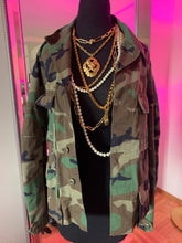 """Got Your Back"" Pink Sequin Evil Eye Vintage Camo Jacket"