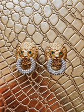 Vintage 1980's Kenneth Jay Lane Gold and Crystal Pave Lion's Head Earrings