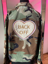 """Back Off"" Vintage Embellished Cropped Camo Jacket"