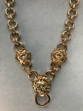 Vintage 1980's Kenneth Jay Lane Gold Plated Lion's Head Door Knocker Necklace