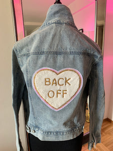 """Back Off"" Vintage Embellished Denim Jacket, Size Medium"
