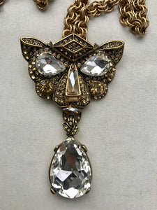Vintage Oscar De La Renta Crystal Panther Necklace